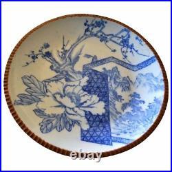 Large Sometsuke Plate Blue White Hizen Ware Platter Meiji Charger Japanese Wares