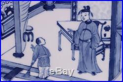 Large Wonderfull Antique Chinese Porcelain Blue & White Plate, Kangxi 1662-1722