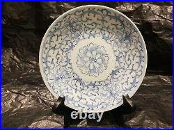 Large antique Chinese blue and white plate porcelain perfect condition