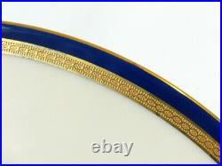 Lenox For J. E. Caldwell & Co 10 Dinner Plates Cobalt Blue Gold Encrusted Rim