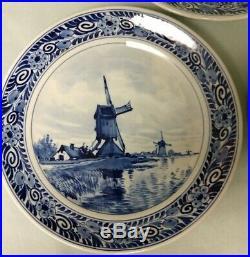 Lot 5 Antique 1912 De Porceleyne Fles Royal Delft Blue White Wall Plates 7 1/4