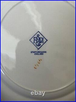 Lot Of 11 R & M Transferware Staffordshire 10 1/4 Turkey Plates Blue On White