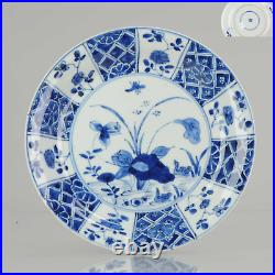 Lovely Antique 18C Blue white Dish Lotus Ducks Qing Chinese Porcelain Ch