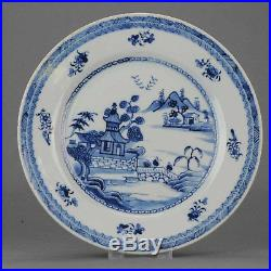 Lovely Antique Chinese Porcelain 18C Cobalt Blue White Landscape pagode