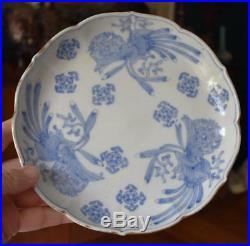 Lovely Antique Japanese Blue White Porcelain Scalloped Edge Dinner Plate