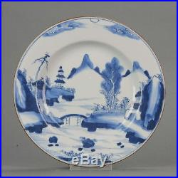 Lovely Chinese 18th C Yongzheng/ Kangxi Blue and White Plate Landscape