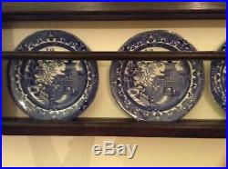 Lovely Large Antique Oak Plate Rack With Blue And White China
