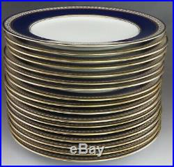 Lovely set 17 Antique Spode Copeland Cobalt Blue White Gilt Plates