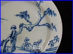 M013 Antique 18th Century English Delft Blue & White Plate