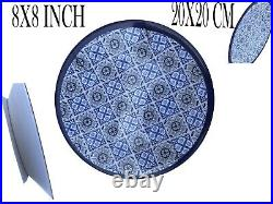 MELAMINE Dinner Plates Set 4 Artisan De Luxe Blue White Size 8X8 INCH / 20 CM