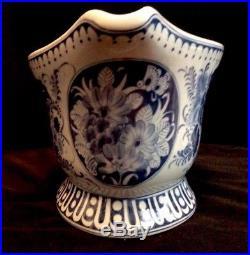 Maitland Smith Centerpiece Bowl Oval Large Cache Pot Blue White Chinoiserie Rare