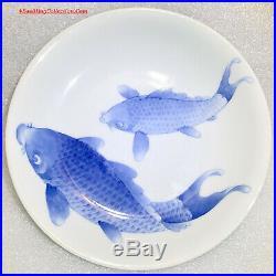 Meiji Japanese Signed Hirado Blue & White Porcelain Carps Plate Arita Imari