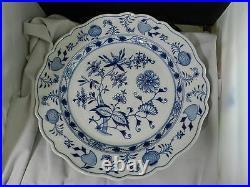Meissen Blue Onion Chop Round Platter Chope Plate Crossed Swords 13 7/8