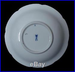 Meissen Set Of Saucer And Dessert Plates (two) Cobalt Blue, White And Gold Euc