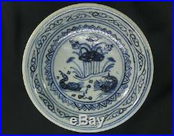 Ming Dyn. Blue & White Footed Fruit Plate! Wedding Gift with Mandarin Ducks