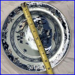 Ming Dynasty Type Chinese Blue White Porcelain Plate Women Catching Flies