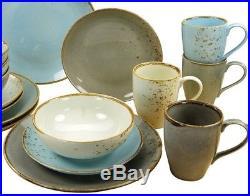 Multicolor Dinner Set 16 Piece Organic Design Blue Gray White Plates Bowls Mugs