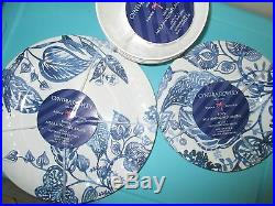 NEW Cynthia Rowley MELAMINE DINNER SALAD Plate 12 Set BOWL Blue White Floral
