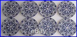 NEW MAC'B France Faience Blue & White Floral Pottery Plates 10 1/4 Set of 8