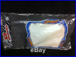 NOS Blue & White GT DYNO RACING BLAST SHIELD D-FORCE NUMBER PLATE Old School BMX