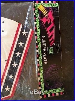 NOS OG Factory Old School Bmx FLITE NUMBER PLATE Red White Blue /Stars Stripes