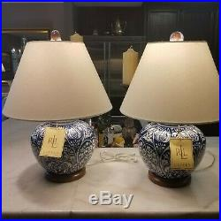 NWT pair two Ralph Lauren Brass Plate Blue White Mandarin Porcelain Lamps