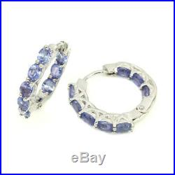 Natural Oval Blue Tanzanite 4x3mm White Gold Plate 925 Sterling Silver Earrings