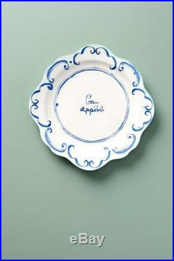 New Anthropologie Hilde Phrase French Blue White Dinner 8 pc Set Plate Bowl Mug