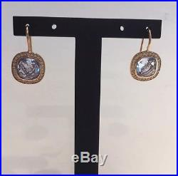 New Thomas Sabo Sterling Silver & Rose Gold Plate, Blue & White Stone Earrings