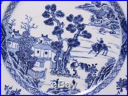 Nice Chinese Blue & White plate, young boy on buffalo, 18th ct. Diam. 28.5 cm
