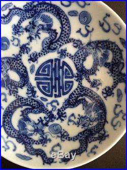 Nice and Rare Chinese Antique 18/19 Century Blue and White Plate Signed