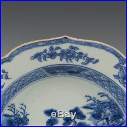 Nice deep Chinese Blue & White plate, figures in a landscape, 18th ct