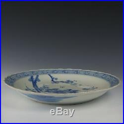 Nice large Japanese blue & white porcelain charger, peonies and bird, ca. 1900