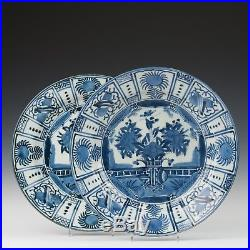 Nice large pair of Blue & White porcelain chargers, Japan, Arita, ca. 1700