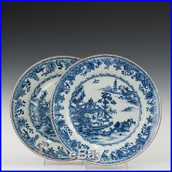 Nice pair of fine Chinese Blue & White plates, figures in river landscape, 18th c