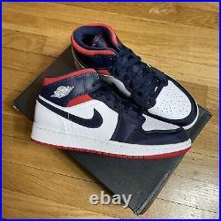 Nike Air Jordan 1 Mid SE GS USA Olympic White Blue Red BQ6931-104 Size 5.5y