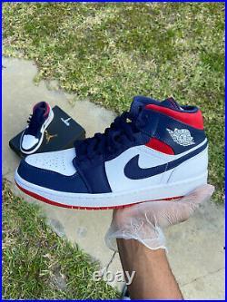Nike Air Jordan 1 Mid SE USA Olympic White Blue Red 852542-104 Size 10