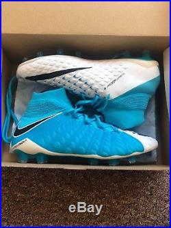 Nike Hypervenom phantom 3 Sky Blue and White DF FG Sole Plate UK Size 10