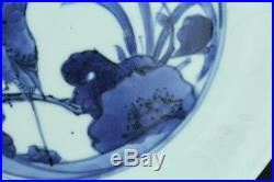 Nov143 Very Rare Kutani Aikutaniblue&white Porcelain Plate Middle Edo