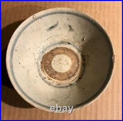 OLD BLUE & WHITE SHIPWRECK MING BOWL 5.25 IN. DIAM. 2IN. HIGH Ancient POTTERY
