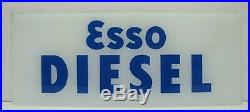 Old ESSO DIESEL Glass Gas Station Pump Plate Advertising Sign Blue White Truck