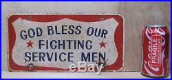 Old GOD BLESS OUR FIGHTING SERVICE MEN Vanity License Plate Red White Blue Metal