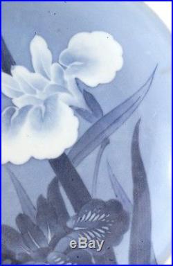 Old Japanese Blue & White Hirado Porcelain Plate Iris Flower