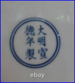 Old Rare Hand Painting Blue and White Porcelain Dish Plate XuanDe Mark