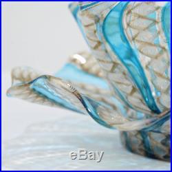 Old Venetian Blue, Copper & White Latticino Finger Bowl & Plate Salviati GL