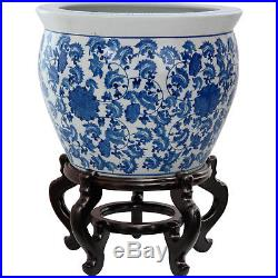 Oriental Furniture 16 Fishbowl in Blue and White Indoor Outdoor Planter