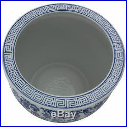 Oriental Furniture 16 Floral Blue & White Porcelain Fishbowl