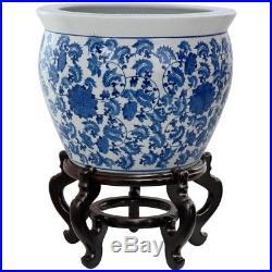 Oriental Furniture 16in Floral Blue White Porcelain Fishbowl Ceramic Planter Pot