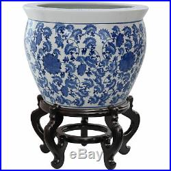 Oriental Furniture 18 Porcelain Fishbowl Blue & White Floral