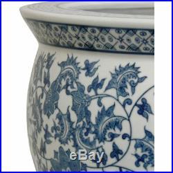 Oriental Furniture 20 Porcelain Fishbowl Blue & White Floral